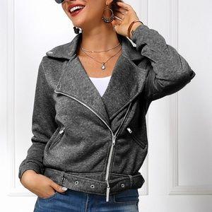 Diagonal zipper Women's Jackets D698